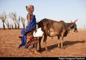 Lokho Dulach with her emaciated cow caused by drought, Didadi Village, Central Marsibit. Kenya. TF partner CCS