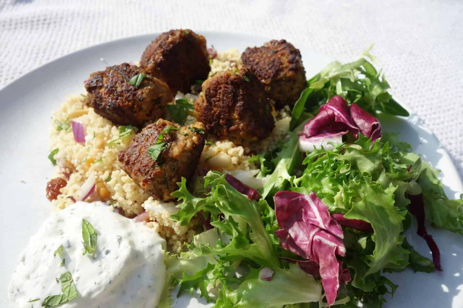 lamb-meatballs-with-fruity-couscous-and-tzatziki