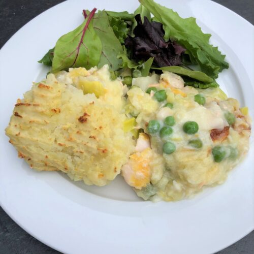 fish-pie-smoked-haddock-salmon-cod-peas-mash-salad
