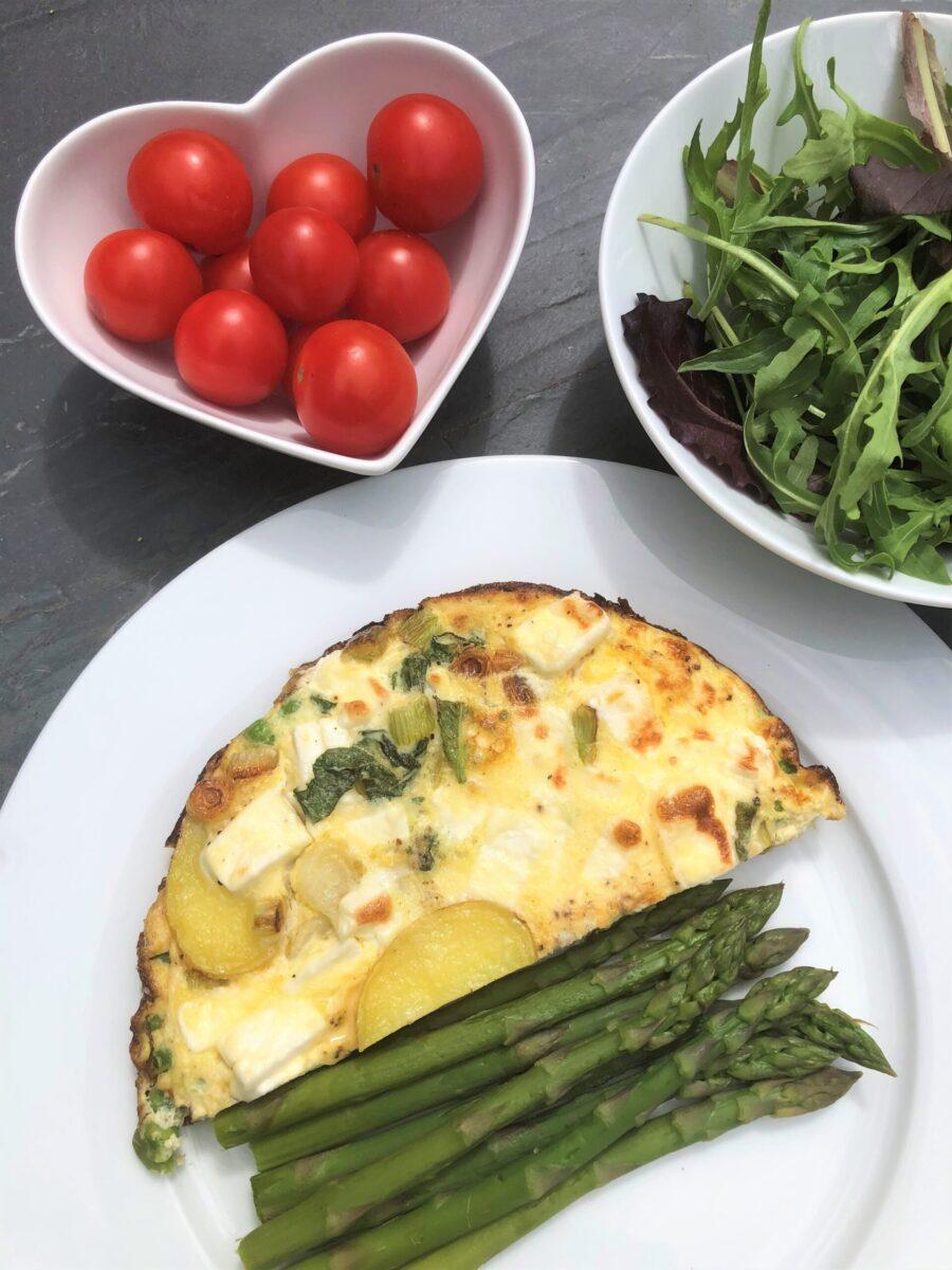 Feta-frittata-asparagus-salad
