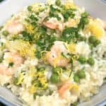 Prawn-and-pea-risotto-lemon-parsley-peas
