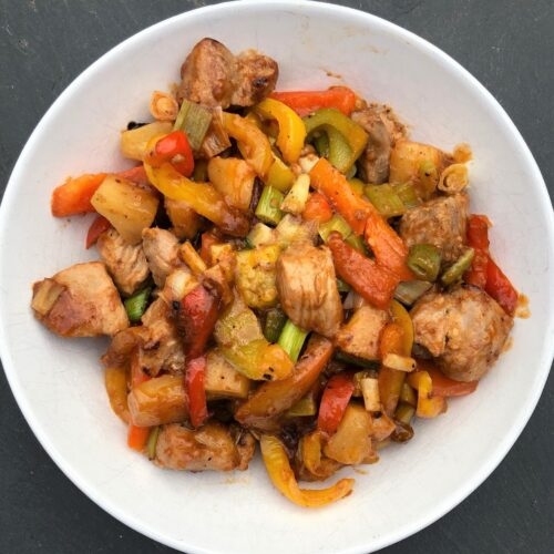 sweet-and-sour-pork-with-rice-peppers-spring-onions